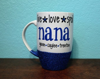 Live Love Spoil Nana latte Cup, Coffee Mornings, Glitter Dipped Latte Cup, Grandma Gift, Grandparents Day