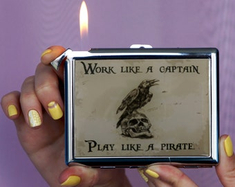 Play Like A Pirate Cigarette case, Chrome Lighter, unusual lighters, Lighter