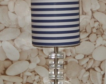 Handmade Lampshade Navy Blue & White Stripe Fabric Drum 20cm 30cm Bespoke Nautical Stripe Sea Side