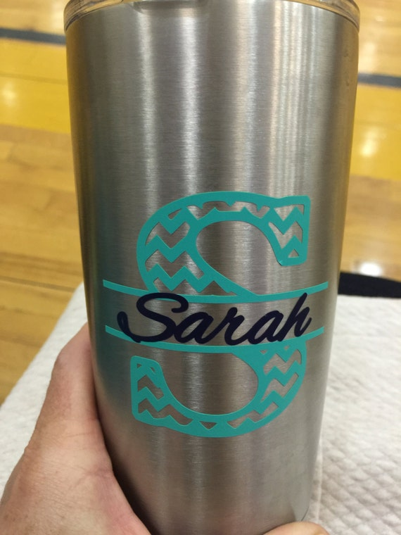 Chevron monogram and name chevron vinyl by for Vinyl letters for plastic cups