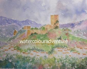 Castle Cazorla, Original watercolor, unique watercolor, urban watercolor, city landscape watercolor, monuments watercolor, jaen, 32x24cm