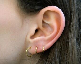Sterling Silver Hoop Earrings - Silver Hoop Earrings -gold plated sterling silver- Hoop Earrings-Small Hoop Earring - Silver Hoop Tiny,001H