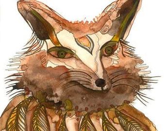 "Fox Watercolor Painting,Nursery Art,Woodland Painting,fox Illustration,Wildlife Art,Fox print,artwork,wall art,home Décor, Art Print 9x13"""