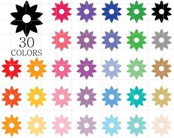 Flower Clipart, Flowers Clipart, Flowers Clip Art, Colorful Flowers Clipart, Flower Silhouette, Rainbow Flowers Clipart, Scrapbooking