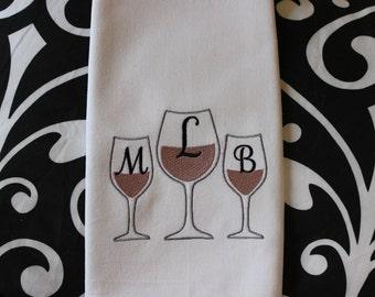 AFTER HOURS - MONOGRAMMED - Wine Glasses - Kitchen Towel, Tea or Bar Towel, Hand or Guest Towel