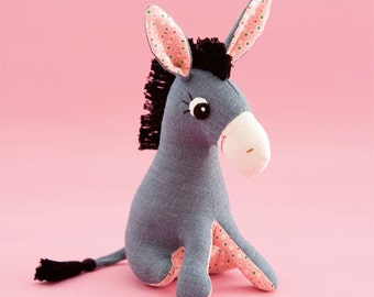 Donkey Sewing Pattern,  Stuffed Donkey Pattern, Cute Donkey PDF Pattern