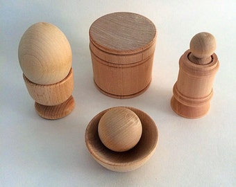 Natural Wooden Toy Play Set, Babies First Toy, Montessori, Waldorf Toy