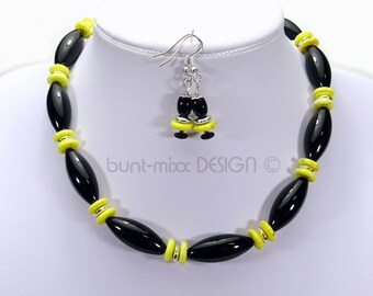 SET necklace + earrings Black Yellow glass olive colored turquoise mixx-DESIGN