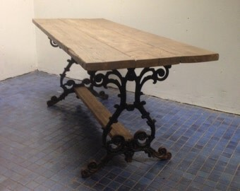 NEW REDUCED PRICE  Upcycled Reclaimed Wood Table With Antique Cast Iron Legs