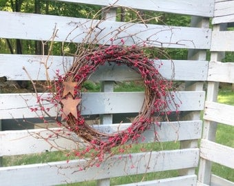 Summer Wreath, Fourth of July Wreath, Front Door Wreath, Spring Wreath, Country Home Decor, Rustic Wreath, Country Wreath, Red Wreath