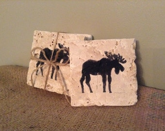 Moose Gifts, Moose Coasters, Coasters, Stone Coaster, Rustic Coaster, Country Home Decor, Hunting Gift, Cabin Gift, Cabin Decor, Hunter Gift