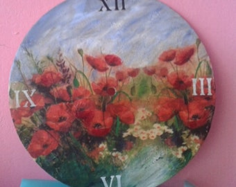 Wall clock decoupage technique - Field with Poppies