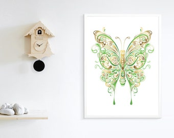 Printable Abstract Floral Butterfly, Printable Art, Wall Decoration, Wall Art, Wall Decor Print, Butterfly Home Decor, Butterfly Print