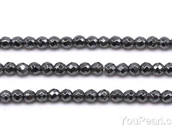Hematite beads, 3mm round faceted, A grade small gemstone beads, genuine loose stone beads, black faceted hematite beads, HMT1007