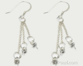 925 sterling silver earrings finding, triple drops dangle earring wires, pearl dangle earring hooks, silver French ear wires, EF1300