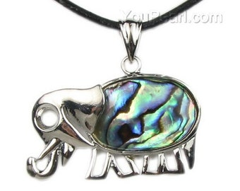 Abalone shell pendant, elephant pendant, paua shell pendant, leather cord shell necklace, natural abalone jewelry, SH1695-AP