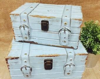 Blue Wooden Wood Shabby Beach Vintage Personalised Wedding Wishing Well Box Treasure Chest