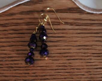 Handmade Multifaceted purple earrings