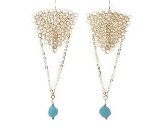 triangle long earrings, silver earrings, dangle earrings, wire crochet earrings, chain earrings, blue crystal earings