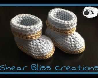 Handmade Crochet Baby Boy Booties Newborn