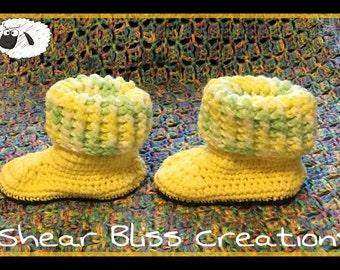 Baby Booties Crochet Ugg Inspired Baby Booties Size 3-6 Months Handmade