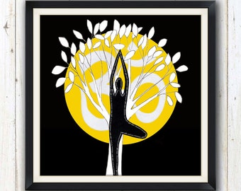 Tree pose yoga art print in 4 different colours/ Yoga studio decor