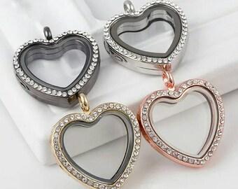 1pc 30mm Heart Shape Rhinestones Alloy Floating Lockets