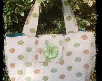 Green and brown spotted slouch bag
