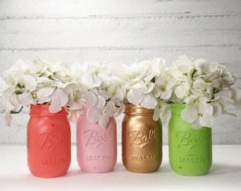 4- Hand Painted Pint Mason Jar Flower Vases-Katharine Collection-Country Decor-Cottage Chic-Shabby Chic-French Chic