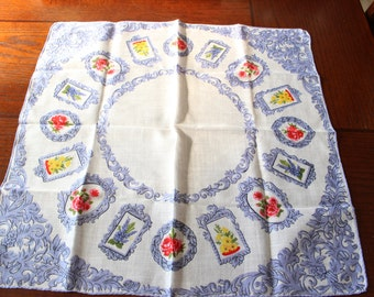 Hanky Steel Blue Ornate Details and Flowers