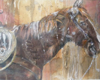 """Original Horse Painting """"Douglas""""  Approx. 35x26cm with mount"""