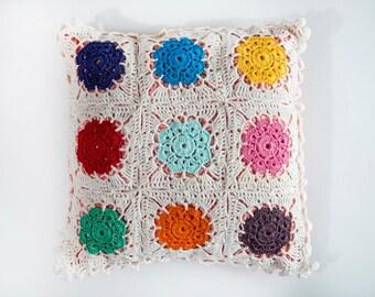 Pillow 14x14, Crochet pillow, Nursery pillow cover, Granny square pillow, Pillowcase, knit pillow, Throw pillows