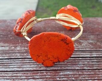 Orange is the Happiest Color Bangle, Orange flat agate