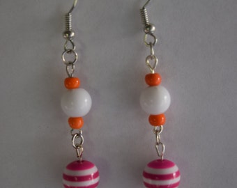 Pink and white dangle earring