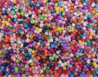 Pack of Glass and Porcelain Beads Seeds Pastel Rainbow and Clear Colours Mix 3mm 4mm 25g Bag