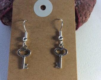Tibetan key drop earrings hippy boho handmade jewellery