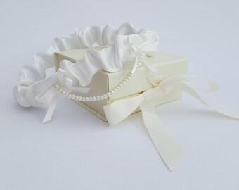 Pearl drape garter - satin bridal garter - custom made garter - pearl garter - wedding garter - made to measure garter - with keepsake box