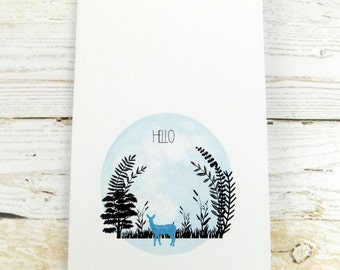 Pocket Notebook Woodland Deer A6 Recycled Notepad