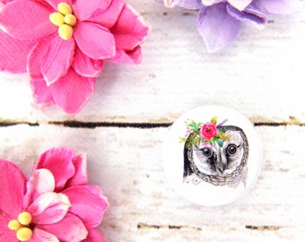 Beautiful Owl Watercolour Flowers Button Badge