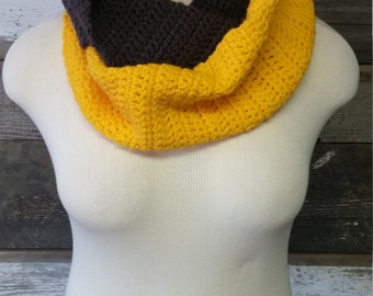 Grey and Golden Yellow Infinity Scarf