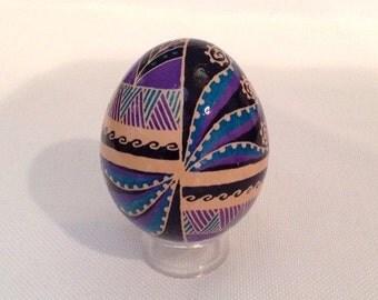 Ukrainian Egg~unique design on brown egg~hand painted Pysanka~Ukrainian Easter Eggs