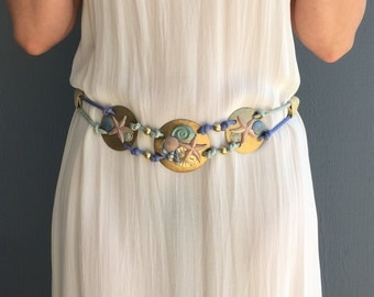 Vintage 80's Statement Rope Belt in Pastels with Seashell Motif