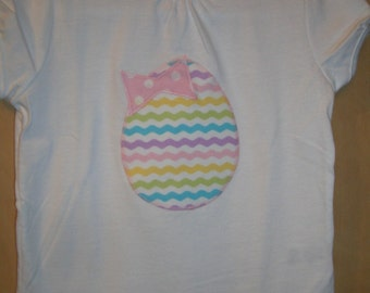 Girls 4T white short sleeve chevron Easter egg t-shirt