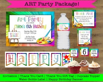 Art Party Printables; Art Party Favor Tags; Art Party Cupcake Toppers; Art Party Invitation; Art Birthday Party Invitations