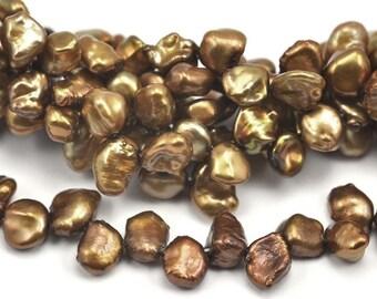 7x8mm Bronze Brown Keishi Keshi Petal Freshwater Pearls