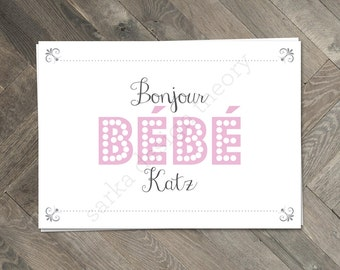 Printable Bonjor Bebe Baby Shower Invitation • French Parisian Pink Vintage  • Digital Printable • SARKA DESIGN THEORY