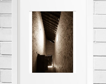 Ye ole Hall, old building, photograph, photo print, light beam, 4x6
