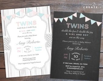 Twins Baby Shower Invite, Printable Twin Baby shower Invitation, Rustic Twin Baby shower Invitation