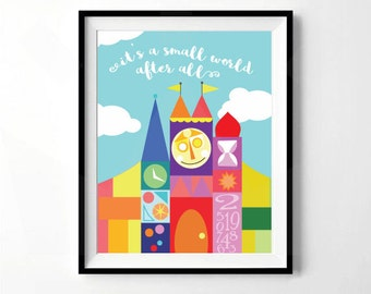 It's A Small World After All | It's a Small World Print | Neutral Nursery Print | Digital Download