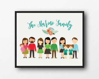 CUSTOM Extended Family Portrait Print | Personalized Extended Family Illustration | Digital Art | Digital Download
